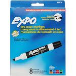 Expo Low Odor Dry Erase Marker, Chisel Tip, Assorted, 8-Set
