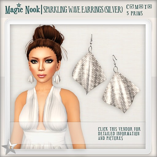 [MAGIC NOOK] Sparkling Wave Earrings (Silver)