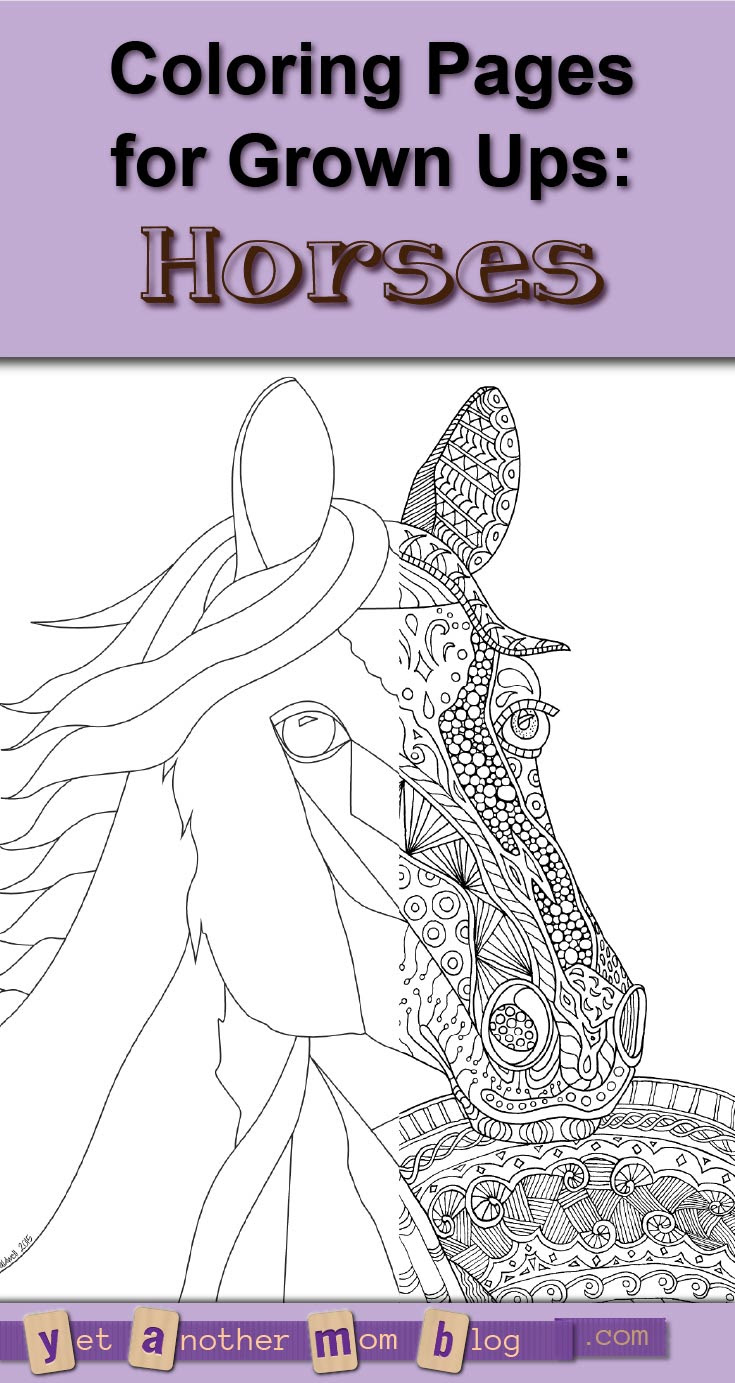 Zentangle Horse Coloring Page for Adults, plus Bonus Easy ...