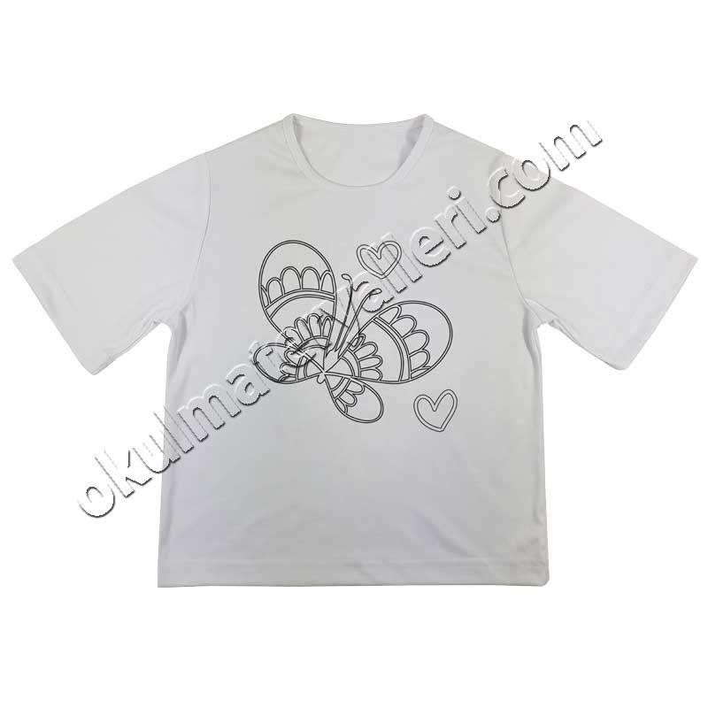 Boyama Tişörtü Kalp Kelebek 2