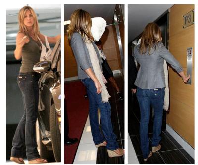 Jennifer Aniston wearing Hudson Jeans Carly Straight Leg Jean