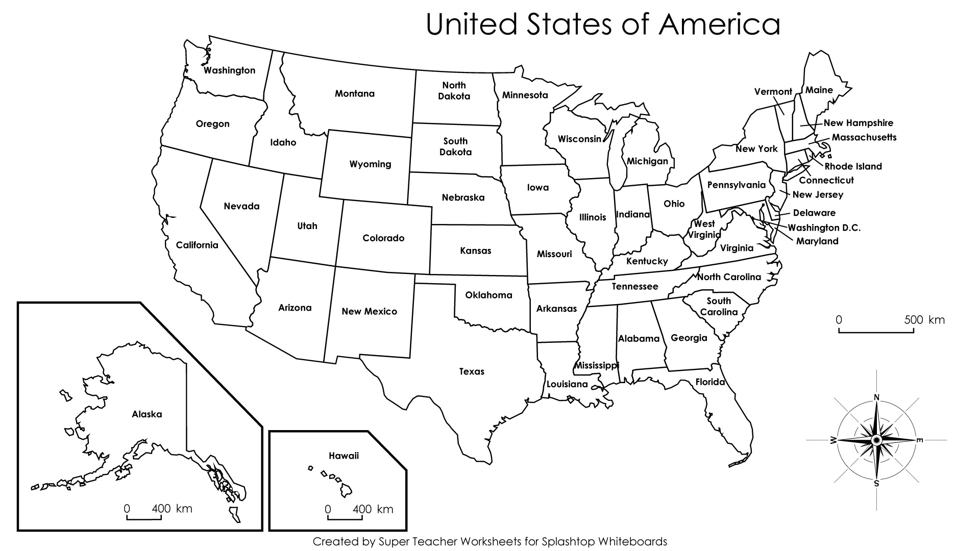 Map Of United States Labeled Printable | dafytk