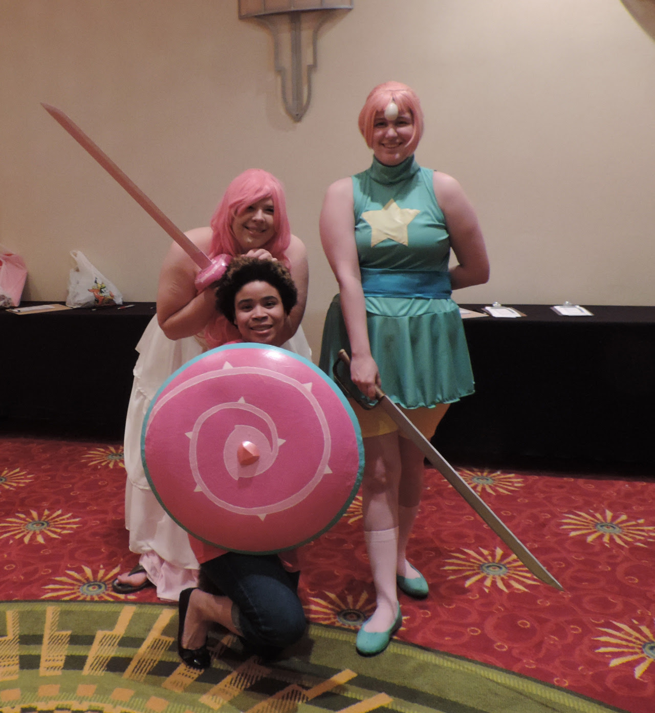 So Po and I went as Rose Quartz and Pearl to Anime Mid-Atlantic, after a hysterical Thursday evening of trying to finish that dress. X'''D But we turned out pretty damn awesome if I do say so myself....