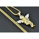 Diamond Angel Pendant .925 Sterling Silver Yellow Finish Charm Moon-Cut Chain