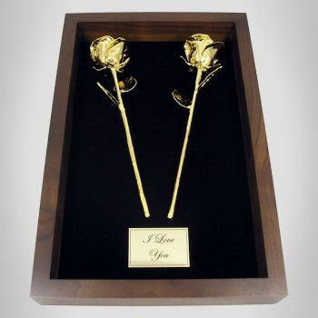 "2 11"" Gold Roses in 50th Anniversary Gift Shadow Box"