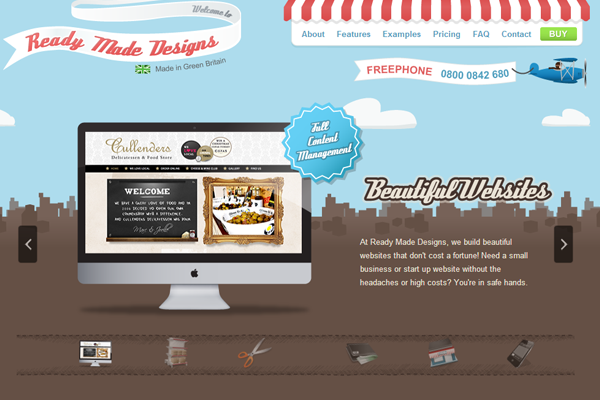 Ready Made Designs website interface layout vintage