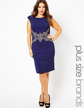 Image 1 of Little Mistress Body-Conscious Midi Dress With Embellished Waist