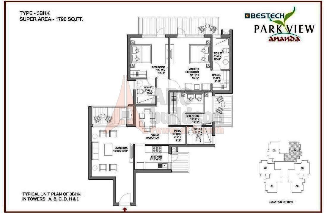 Bestech Park View Ananda Floor Plan - FloorPlan.in