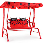 Gymax Kids Patio Swing Chair Children Porch Bench Canopy 2 Person Yard Furniture red