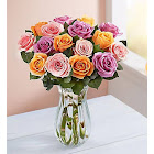 1-800-Flowers Sorbet Roses 18 Stems with Clear Vase