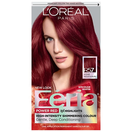 L'Oreal Paris Feria Permanent Haircolor Intense Medium Auburn/Cherry Crush (R57)