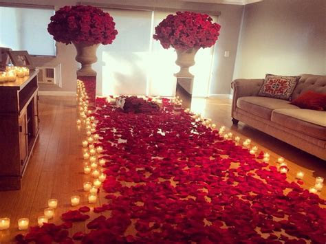 Romantic room decoration with candles and roses, wedding