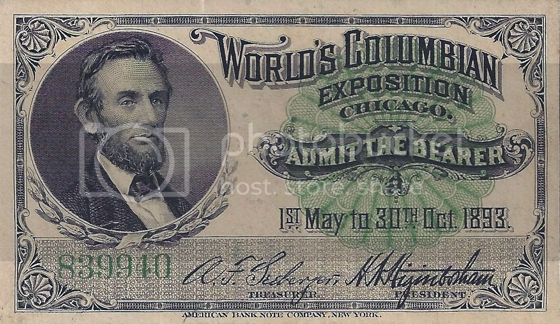 World's Columbian Exposition Chicago Lincoln Ticket photo worldscolumbianexpositionchicago1893abrahamlincolnticket_zps6da9e4b3.jpg