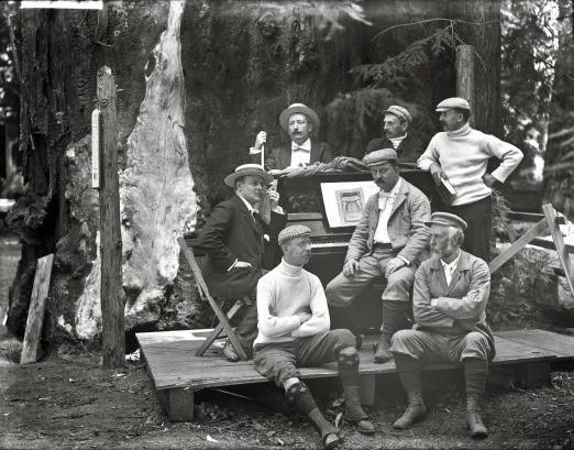Group portrait of men around piano, Bohemian Grove