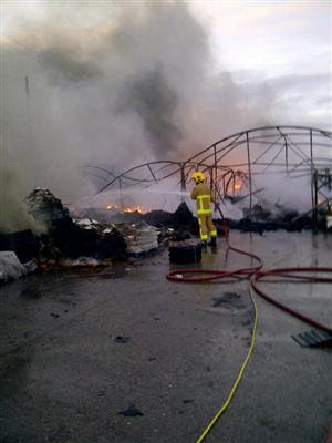 Firefighters tackle a fire in Crewe