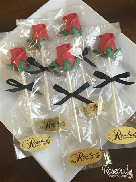 12 ROSES Red Milk Chocolate Lollipop Candy Party Favors