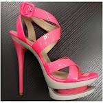 """NICOLE, 6"""" Neon Strappy Sandal Fuschia / Size 8"""