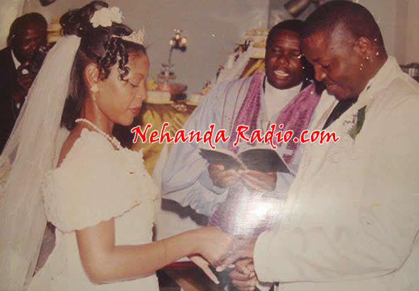 Learnmore Jongwe with his wife Rutendo on their wedding day