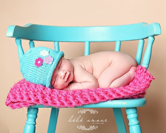 Knit Newborn Hat for Girls  Aqua Blue Hand by LeosLovelyTreasures