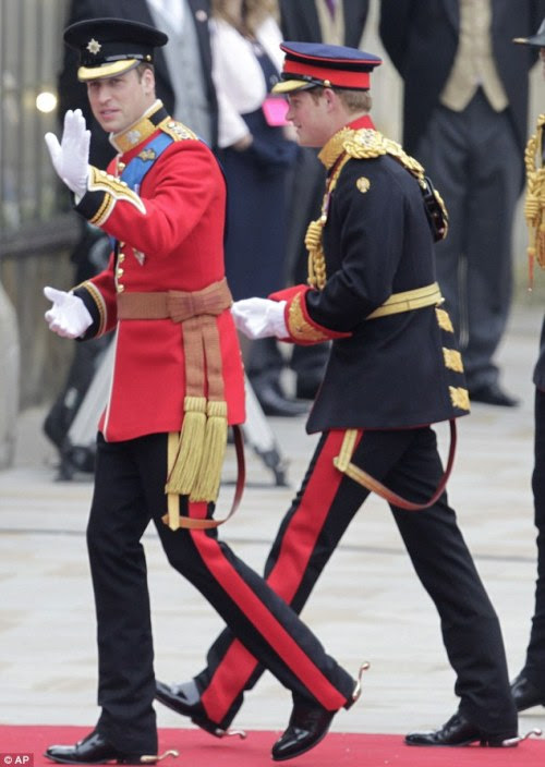 Princes William and Harry arrive at Westminster Abbey
