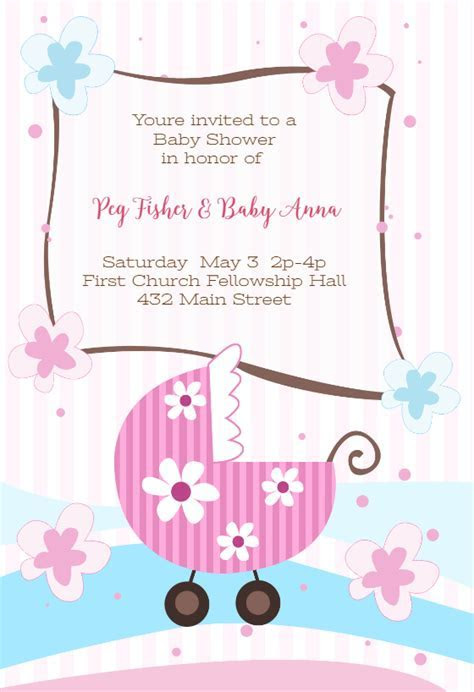 New Baby Girl   Baby Shower Invitation Template (Free