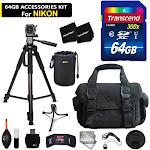 64GB Accessory Kit for Nikon DL18-50, DL24-500, DL24-85, D7200, D7100, D750, ...
