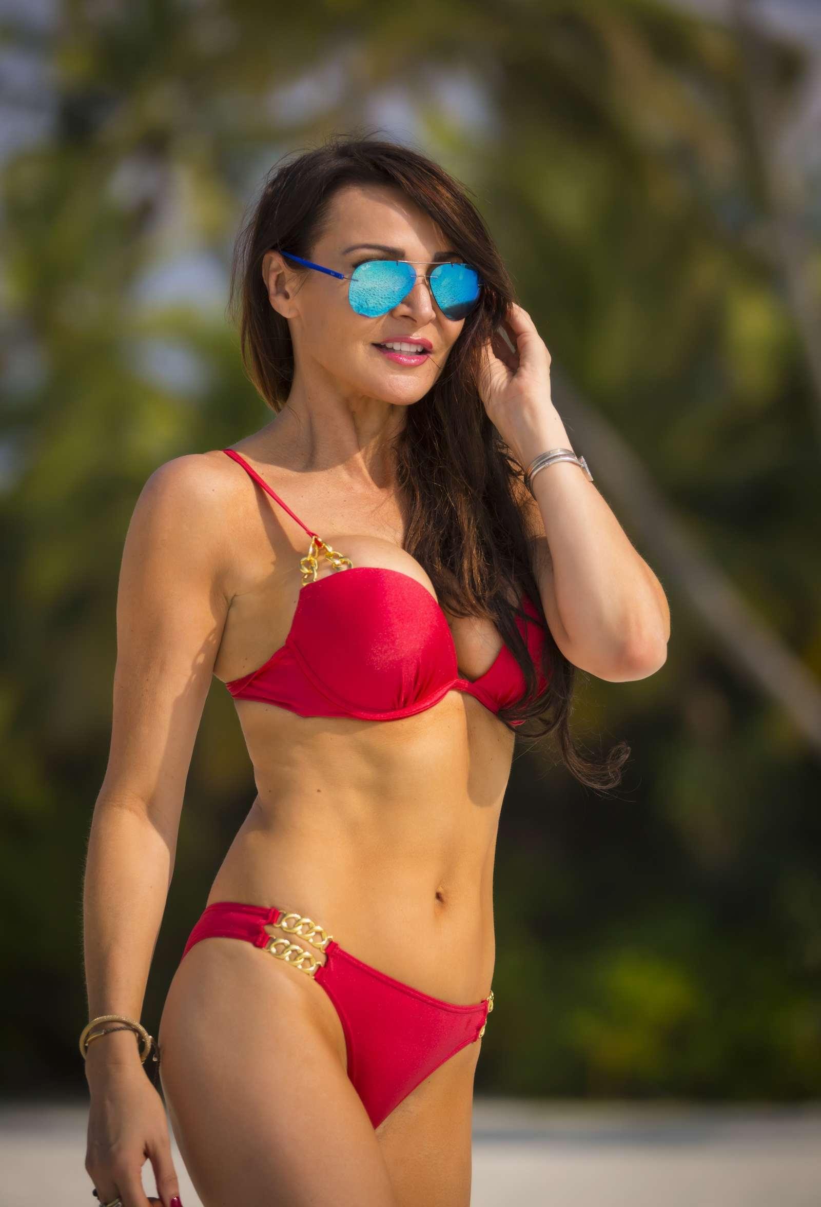 Lizzie Cundy in Red Bikini Celebrates Christmas in The Maldives