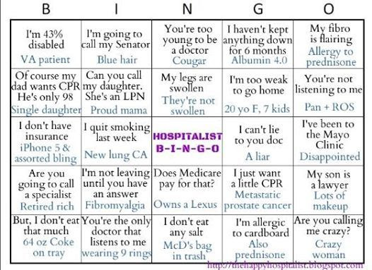 Hospitalist Bingo Humor photo