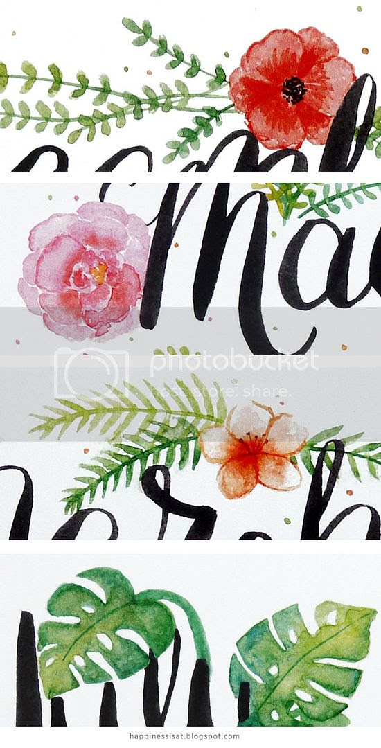 the Happiness is... 2016 Hand Lettered Calendar with botanical illustrations