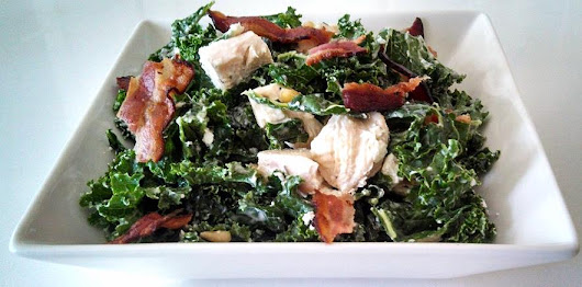 Creamy Chicken and Kale Salad with Pine Nuts (and BACON) ~ Grain Free Guru