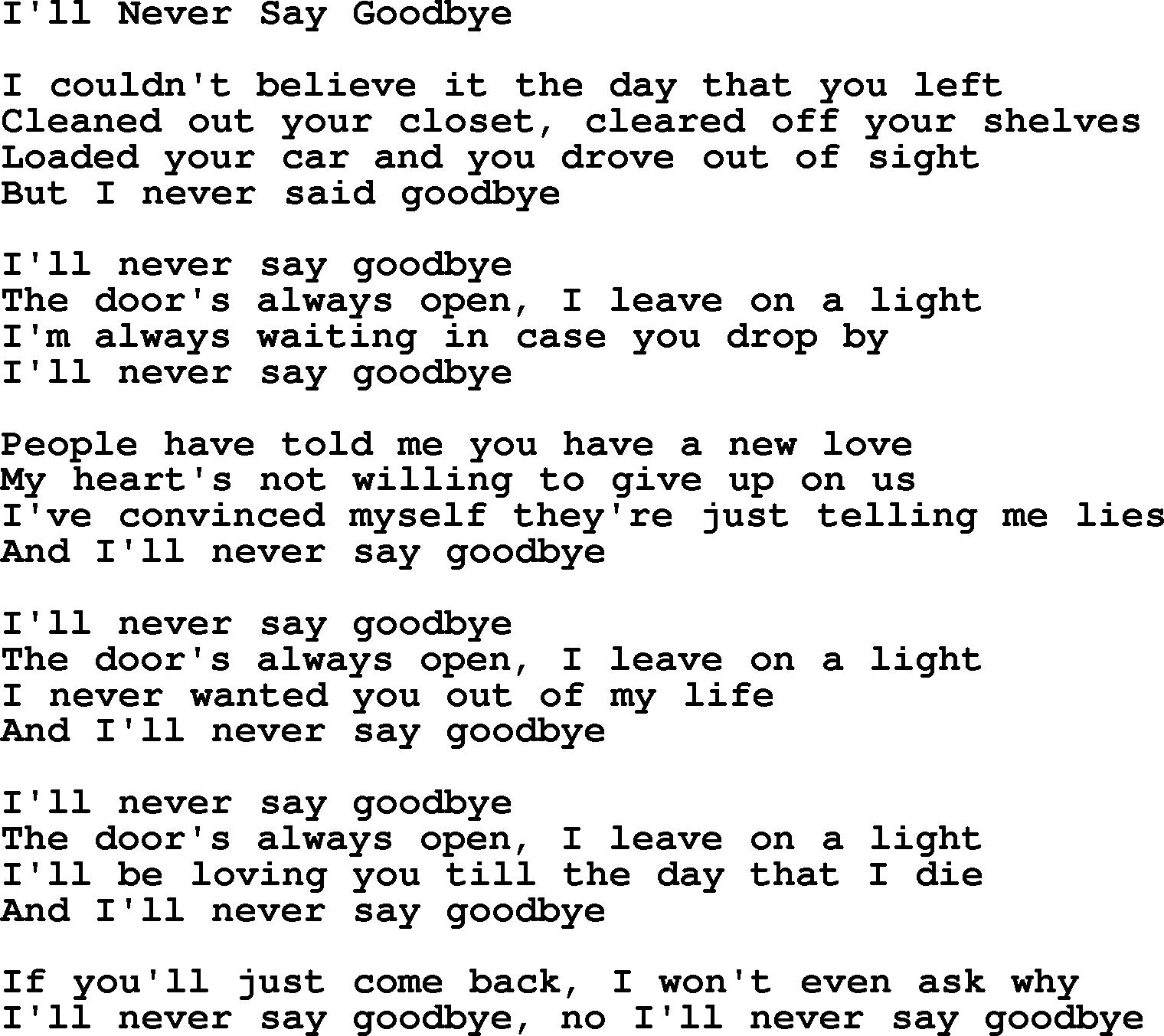 Dolly Parton Song Ill Never Say Goodbye Lyrics