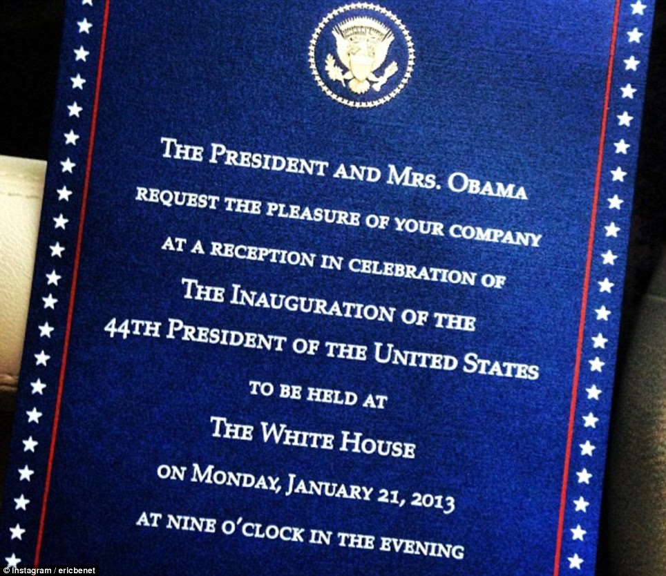 Invitation: Eric Benet posted this picture of his invitation to the inaugural celebrations at the White House on Tuesday afternoon