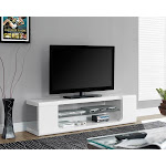 Monarch Specialties I 3535 High Glossy White 60 L Inch Tv Console With Tempered Glass