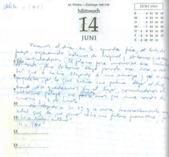 Facsímil de la página del 14 de junio de 1967 en el Diario del Che en Bolivia.