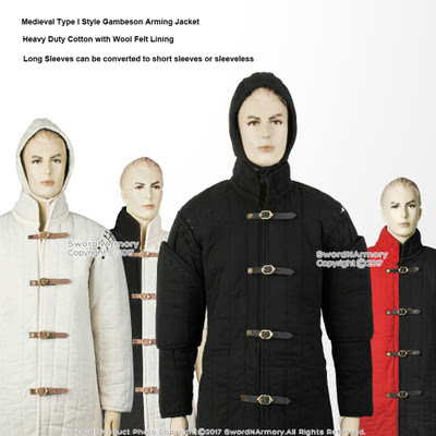 4 Colors Multiple Sizes Available Gambeson Type I Medieval Padded Armour Coat SCA WMA Arming Jacket