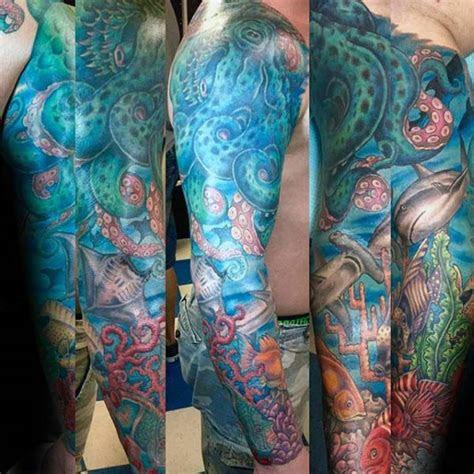 ocean sleeve tattoos  men underwater ink design ideas