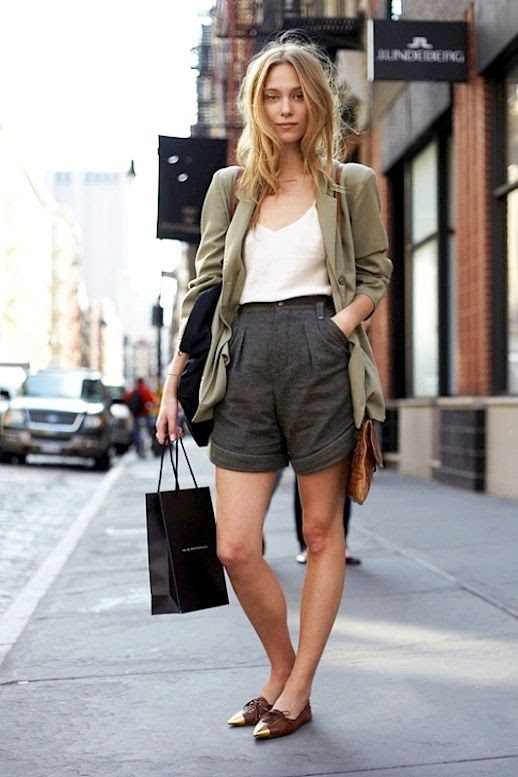 Le Fashion Blog Model off Duty Street Style Polished Bermuda Shorts Zuzanna Krzatala Green Blazer Silk Cami Metal Cap Toe Oxfords photo Le-Fashion-Blog-Model-off-Duty-Street-Style-Polished-Bermuda-Shorts-Zuzanna-Krzatala-Green-Blazer-Silk-Cami-Metal-Cap-Toe-Oxfords.jpg