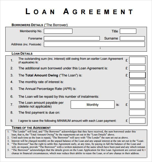 Loan Agreement Form Sample Pdf Template