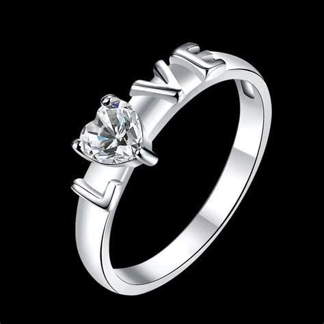 925 Sterling Silver Plated Womens Wedding Heart Crystal