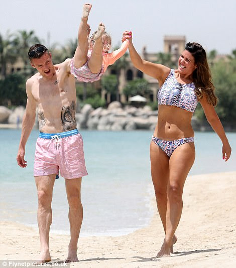 Rebekah Vardy shows off her figure in halterneck bikini