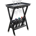 Legacy Home Black Finish Wood Folding Wine Table