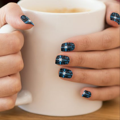 Constellation Black and Blue Elegant Pattern Minx Nail Wraps