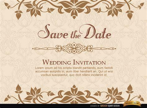 Modelo de convite de casamento Floral dourado   Baixar Vector