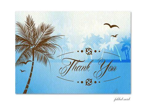 Blue Beach Palm Tree Folded Thank You Card for weddings