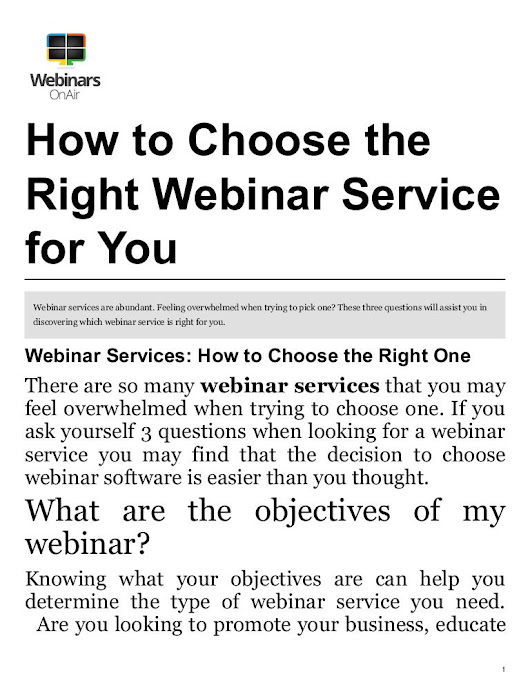 With So Many Webinar Services, How to Choose the Right One?