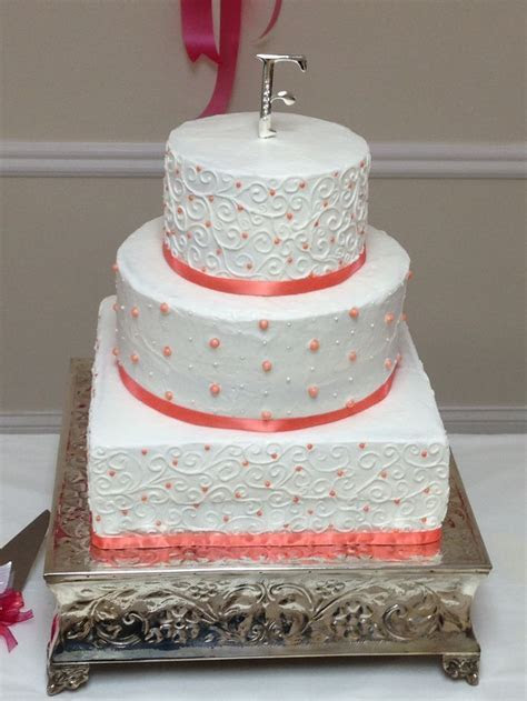 Coral wedding cake   Wedding and shower cakes   Pinterest