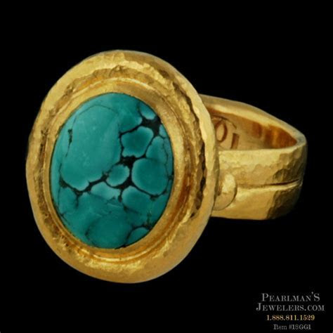 Gurhan 24kt Gold Chinese Turquoise Cabochon Ring