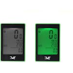 wireless bike bicycle cycling computer odometer speedometer touch button lcd backlight backlit water-resistant multifunction green