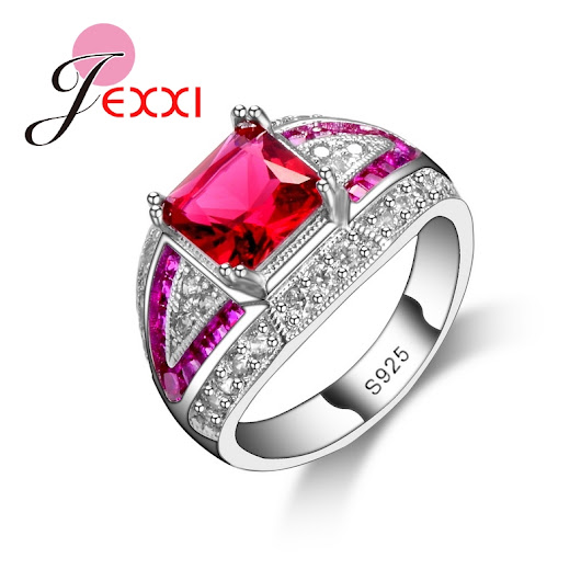 JEXXI Classical 925 Sterling Silver Wedding Rings Women bijoux For Lady Vintage Luxury Shiny Pink CZ Diamond Jewelry | China-Mart.xyz - Free Delivery Worldwide !!!
