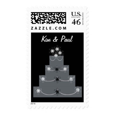 PLATINUM GRAY WEDDING CAKE STAMP by WEDDINGCAKES